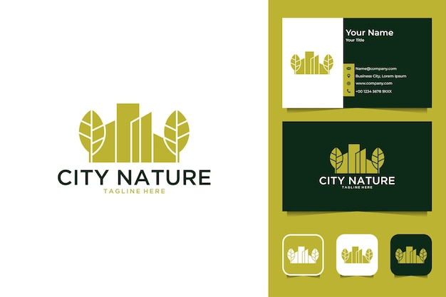 Stadsnatuur met blad en gebouwlogo-ontwerp en visitekaartje