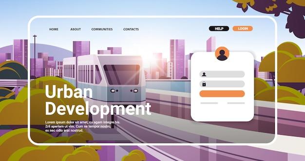 Stadsontwikkeling website bestemmingspagina sjabloon stadsgezicht achtergrond horizontale kopie ruimte