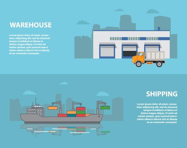 Stadspakhuis met een vrachtwagen en een haven met een vrachtschip.