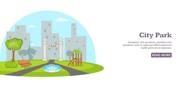 Stadspark achtergrond, cartoon stijl