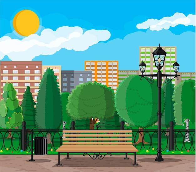 Stadspark concept met gebouwen en bomen illustratie