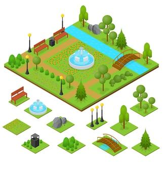 Stadspark en gebied in isometrische weergave
