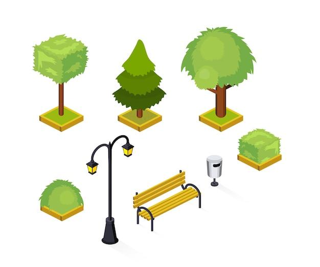 Stadspark isometrische illustraties pack, stadstuin, openbare plaats geïsoleerde 3d-ontwerpelementen, groen, weelderige bomen en struiken, heg, straatlantaarn, lantaarnpaal, houten bank, vuilnisbak