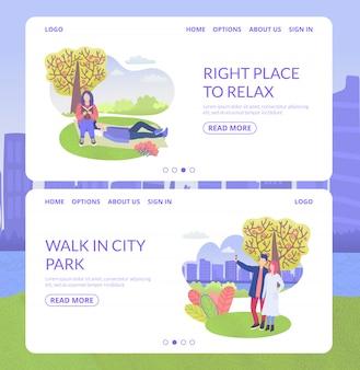 Stadspark karakter juiste plek om te ontspannen en man en vrouw lopen webbanners instellen vlakke afbeelding.