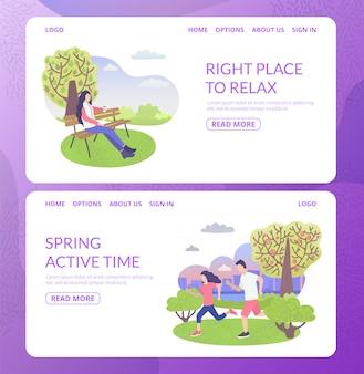 Stadspark karakter juiste plek om te ontspannen en te sporten met man en vrouw actieve sport tijd webbanners instellen vlakke afbeelding.