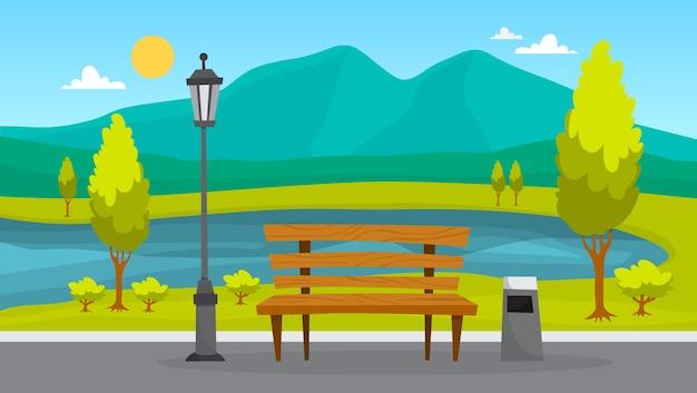 Stadspark landschap. groen gras, bank en bomen