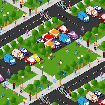 Stadspark met bomen en mensen die de levensstijl van vakantiegangers lopen, stedelijke isometrische 3d-illustratie voor de ontwerp- en gamesindustrie