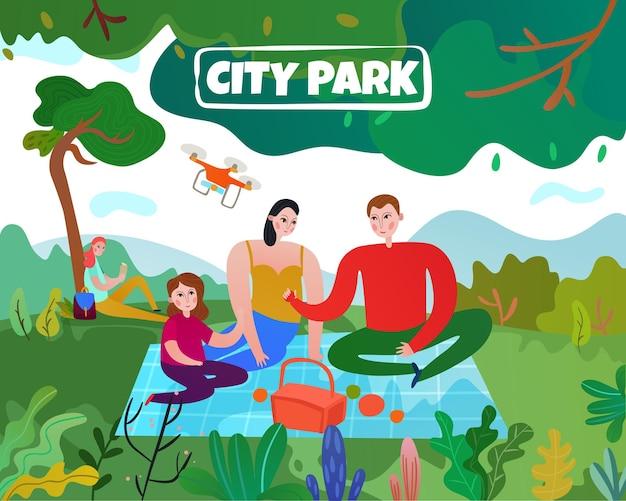 Stadspark met bomengazon