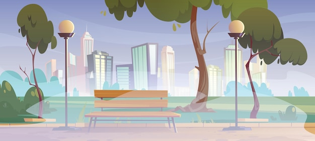 Stadspark met groene bomen gras houten bank en lantaarns in mist cartoon zomerlandschap met lege openbare tuin met mist en stadsgebouwen op skyline