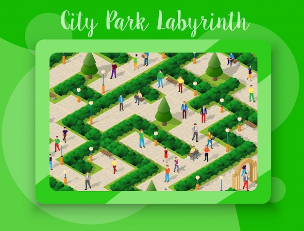 Stadspark met mensen en bomen