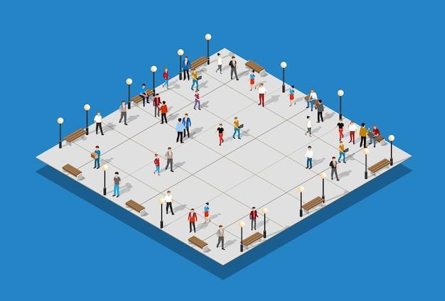 Stadspark met mensen en stadslichten, bankjes, de binnenstad. stedelijke infrastructuur 3d illustratie
