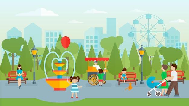 Stadspark met mensen plat ontwerp