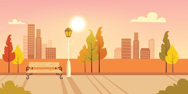 Stadspark op de zonsondergang achtergrond premium