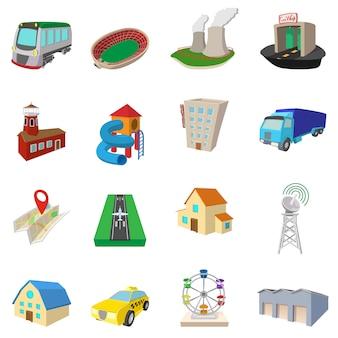 Stadspictogrammen in beeldverhaalstijl geïsoleerde vector worden geplaatst die