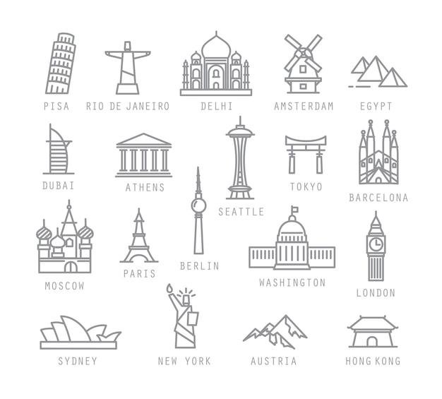 Stadspictogrammen in vlakke stijl