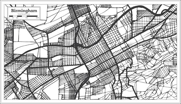 Stadsplan van birmingham, alabama, vs in retro stijl. overzichtskaart.