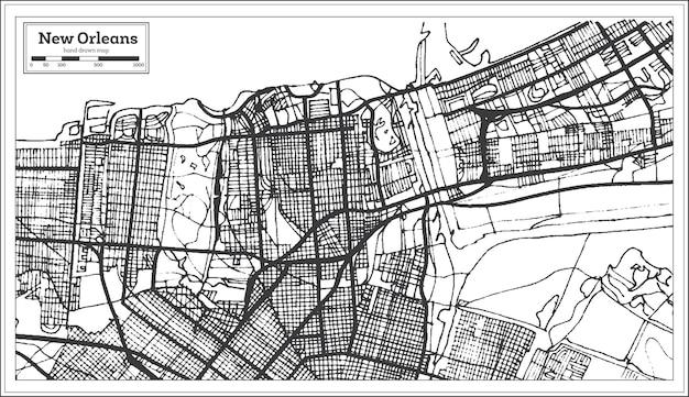 Stadsplan van new orleans louisiana usa in retro stijl. overzichtskaart.