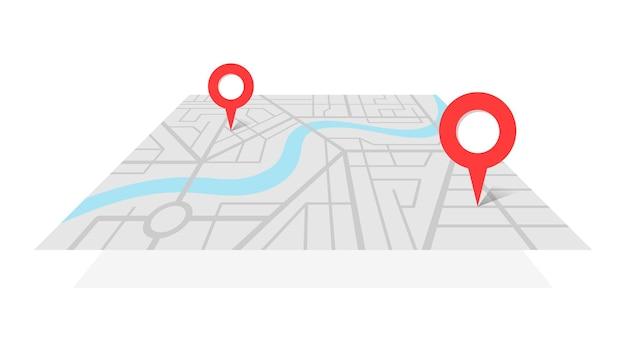 Stadsplattegrond met gps-plaatspinnen en navigatieroute van a naar b puntmarkeringen. vector grijze kleur perspectief weergave isometrische illustratie locatie schema