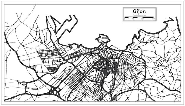 Stadsplattegrond van gijon spanje in retrostijl