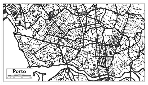 Stadsplattegrond van porto portugal in retrostijl