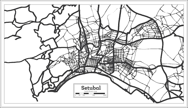 Stadsplattegrond van setubal portugal in retrostijl