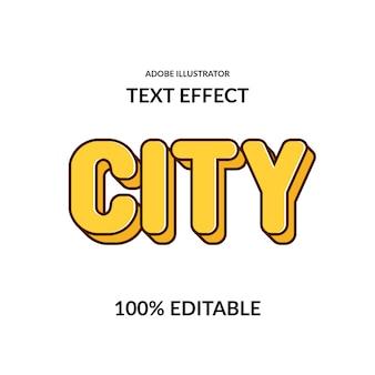 Stadsplezier komisch rond geel bewerkbaar lettertype-effect voor kinderen en spel