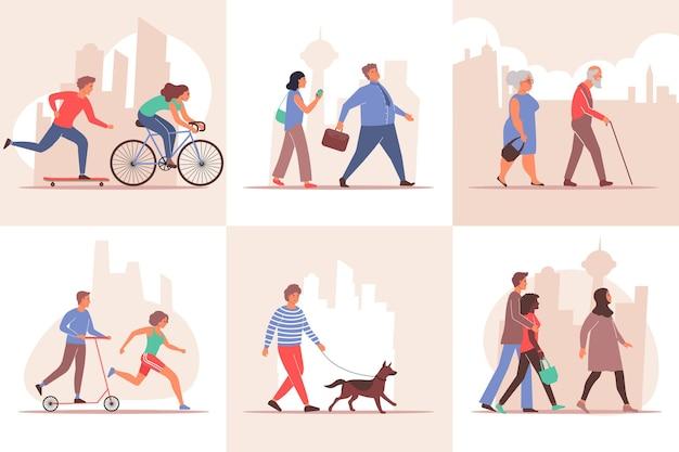Stadsset composities met stadsgezicht silhouetachtergronden en wandelende mensenpersonages van verschillende leeftijden