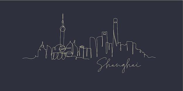 Stadssilhouet shanghai in de stijl van de penlijntekening met beige lijnen op donkerblauwe achtergrond