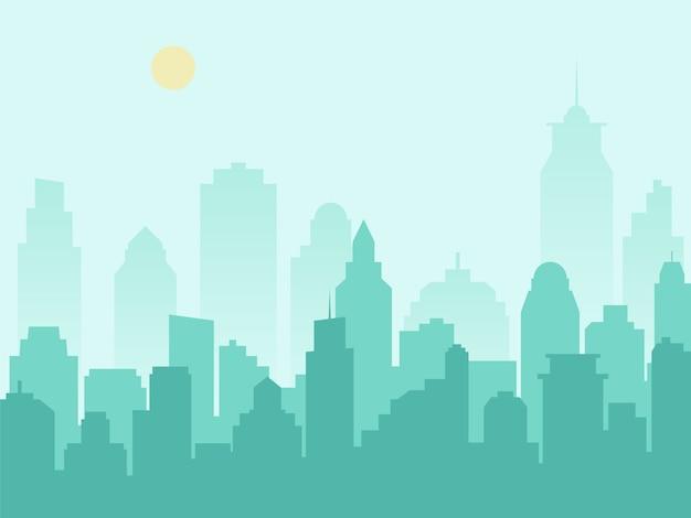 Stadssilhouet stadsbeeld en ochtendmist