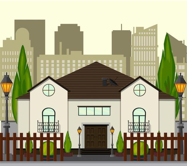 Stadsstraat met een nieuw huis met één verdieping. cartoon stijl. illustratie.