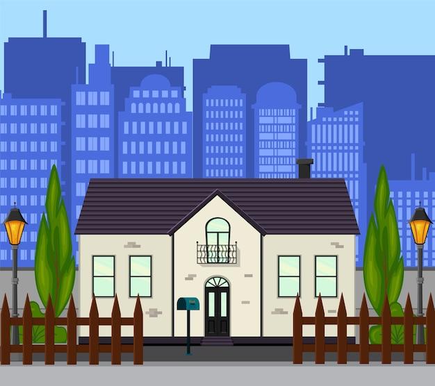Stadsstraat met een nieuw huis met één verdieping