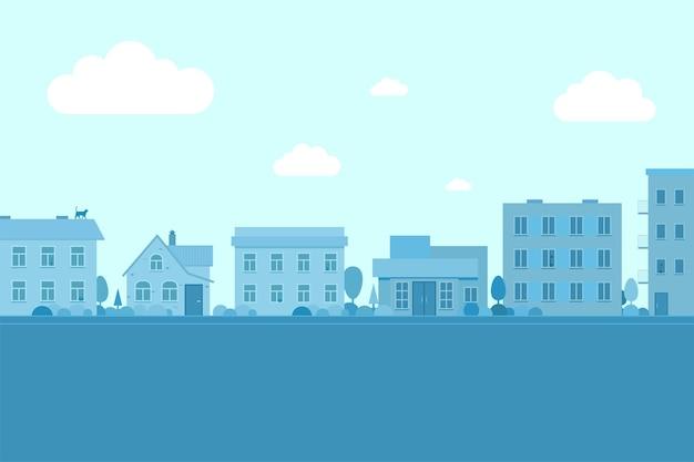 Stadsstraat met gebouwen stadslandschapsweg en laagbouwwoningen in verschillende architectuurstijlen