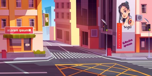 Stadsstraat met huizen en scooter op weg