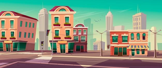 Stadsstraat met huizen en weg