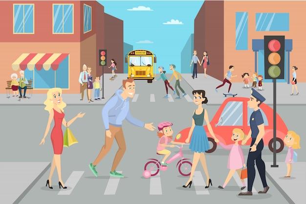 Stadsstraat met mensen. ouders met kinderen, kinderen en volwassenen.