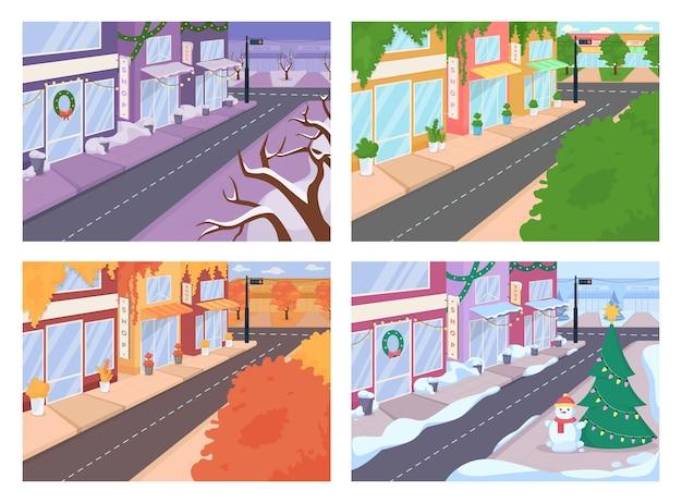 Stadsstraat met verschillende seizoenen egale kleur vector illustraties set. stedelijk gebied met herfst-, lente-kenmerken. winter, zomer 2d cartoon stadsgezichten collectie met winkels bos op achtergrond
