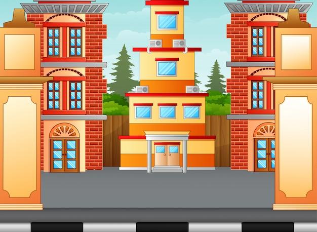 Stadsstraat straatmening met kantoorgebouwen huizen