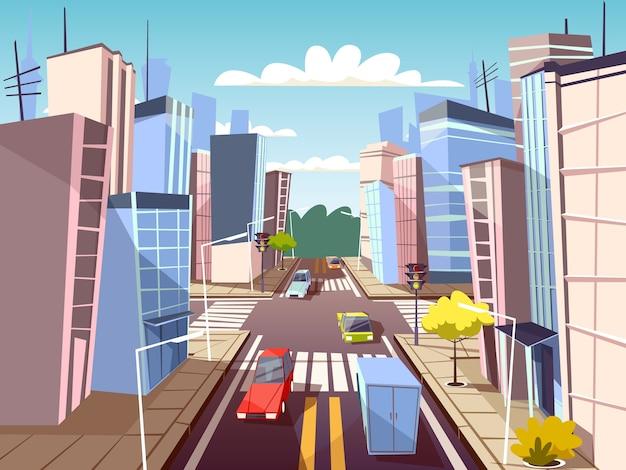 Stadsstraat van stedelijk auto'svervoer op verkeerssteeg en voetzebrapad