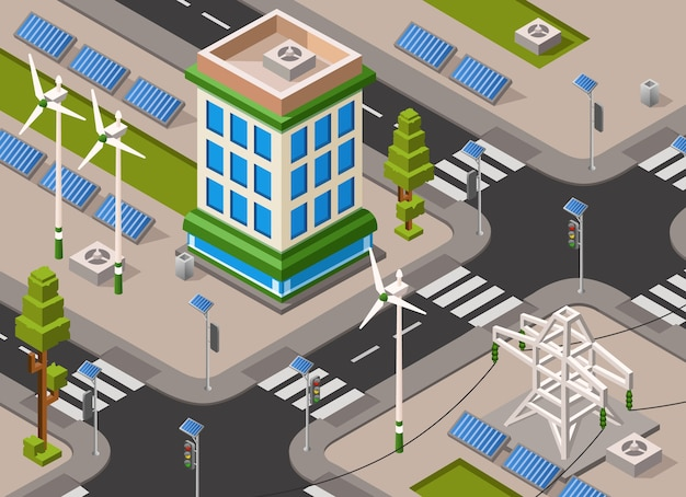 Stadsstraat van zonne- en windenergie.