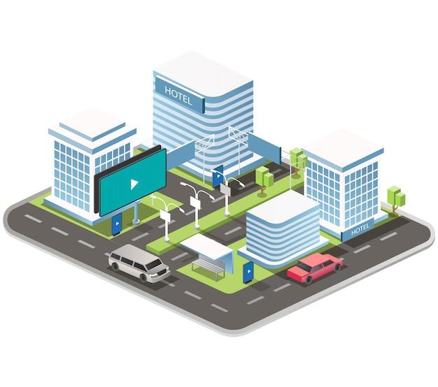 Stadsstraten met bewegwijzering en auto's