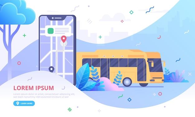 Stadsverkeer bijhouden van platte vector sjabloon voor spandoek. cartoon mobiele telefoon en autobus illustratie. openbaar vervoer en gps-navigatie. app voor het zoeken naar buslocaties. online transportsysteem