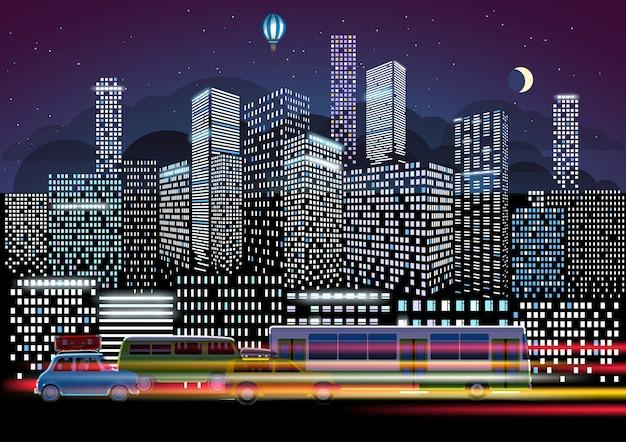 Stadsverkeer en nachtverlichting