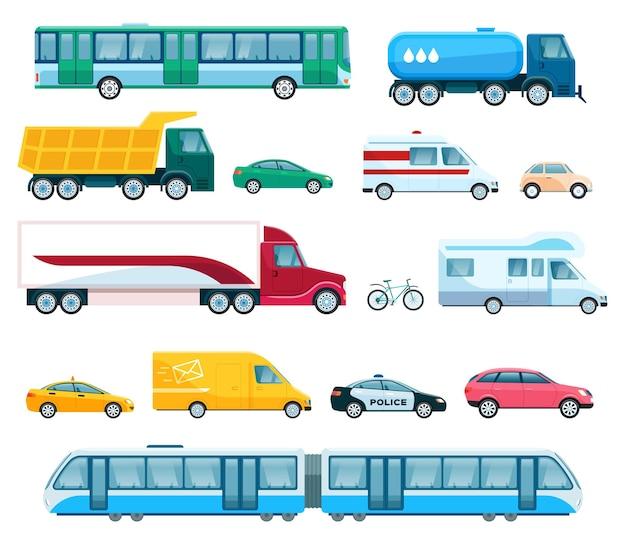 Stadsvervoer bus taxi politie auto van vrachtwagen, trein. platte openbare voertuig vector set