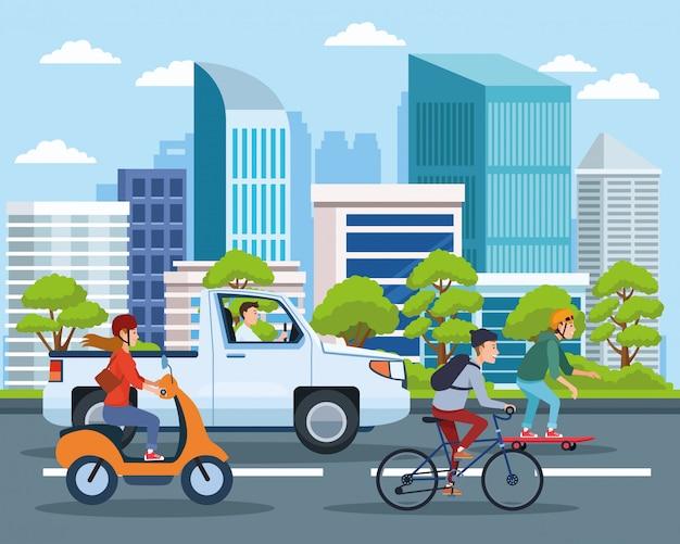 Stadsvervoer en mobiliteitscartoons