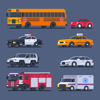 Stadsvervoer en officiële transportset auto's. vectorillustratie.