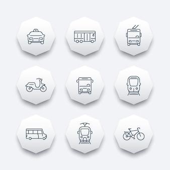 Stadsvervoer, tram, trein, bus, fiets, taxi, trolleybus, lijn achthoek pictogrammen, vectorillustratie