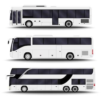 Stadsvervoer. zijaanzicht van de bus.
