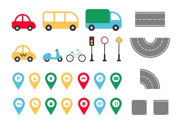 Stadswegelementen instellen stadskaart constructor plat vervoer auto bus vrachtwagen taxi fiets kaartaanwijzer