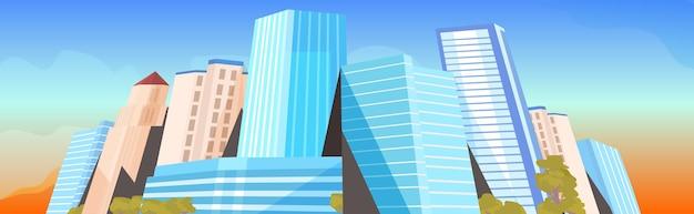 Stadswolkenkrabbers bekijken moderne stadsgezicht