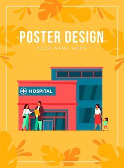 Stadsziekenhuis gebouw. patiënt in gesprek met arts bij ingang, ambulanceauto geparkeerd bij kliniek. kan worden gebruikt voor noodgevallen, medische zorg, gezondheidscentrumconcept
